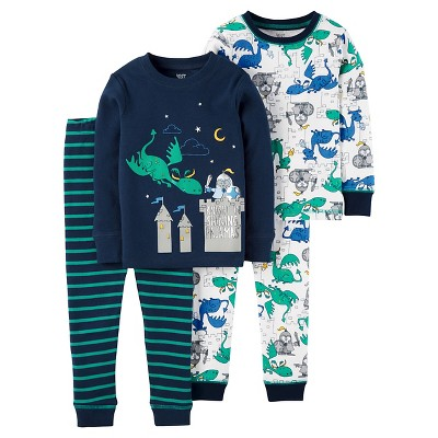 Just One You™ Made by Carter's® Baby Boys' 4pc Snug Fit Cotton Pajama Set Knight/Dragons - Navy 9M