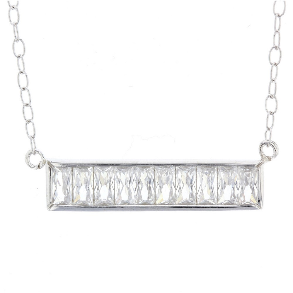 Womens Necklace Sterling Silver Bar with Baguette Cubic Zirconia – Silver/Clear (18)