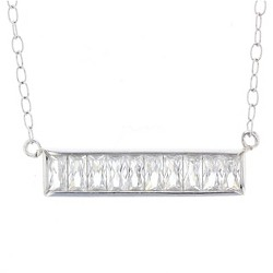 "Women's Necklace Sterling Silver Bar with Baguette Cubic Zirconia – Silver/Clear (18"")"