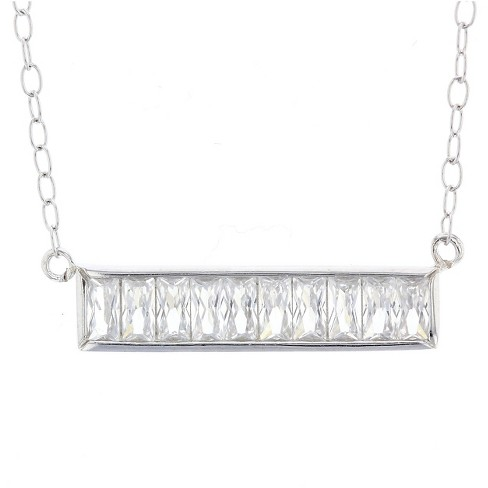 "Women's Necklace Sterling Silver Bar with Baguette Cubic Zirconia – Silver/Clear (18"") - image 1 of 1"