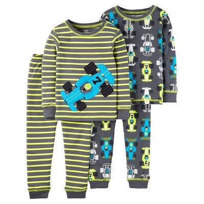 Just One You™ Made by Carter's® Baby Boys' 4pc Snug Fit Cotton Pajama Set Racecars - Gray/Yellow 9M