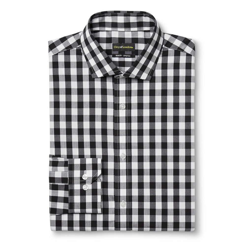 Men's Slim Fit Wrinkle Free Gingham Dress Shirt Black 15 / 34-35 – City of London