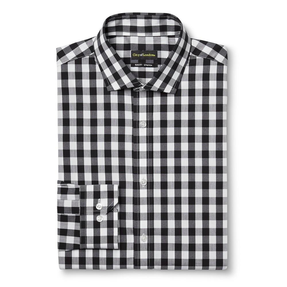 Men's Slim Fit Wrinkle Free Gingham Dress Shirt Black 17.5 / 34-35 – City of London