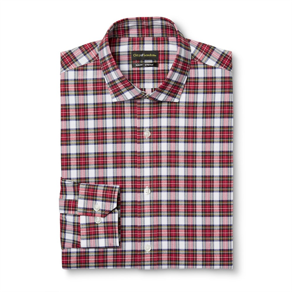 Men's Slim Fit Wrinkle Free Plaid Dress Shirt Red 17 / 34-35 -City of London