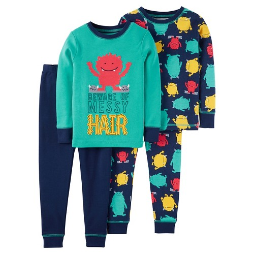 Toddler Boys' 4-Piece Snug Fit Cotton Pajama Set Messy Hair Monster - Navy & Teal 4T - Just One You Made by Carter's, Toddler Boy's, Green
