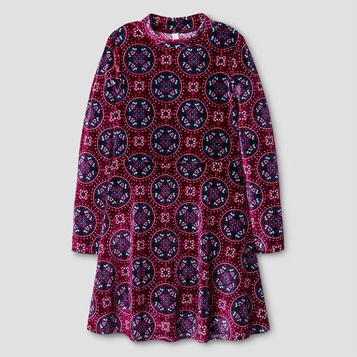 Girls' Printed Velvet Dress Multicolor L - Xhilaration, Girl's, Multicolored