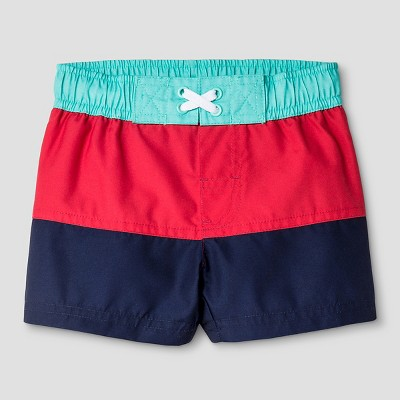 Baby Boys' Colorblock Stripe Swim Trunk - Cat & Jack™ Navy 9M