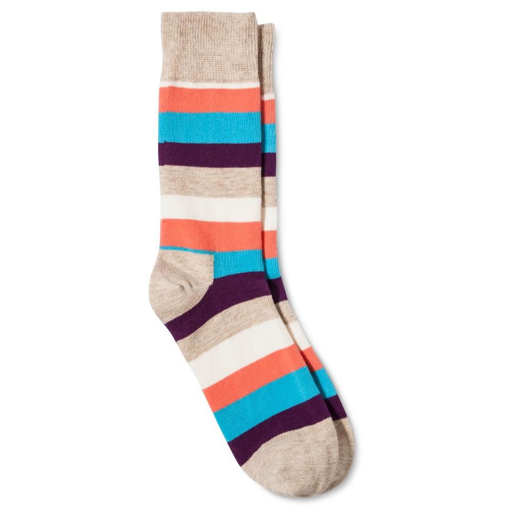 HS by Happy Socks Womens Striped Crew Sock - Oatmeal 9-11, Tan