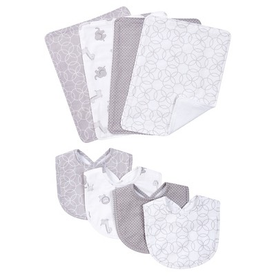 Trend Lab 8 Piece Bib and Burp Cloth Set - Gray and White