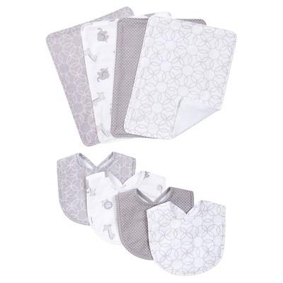 Trend Lab 8 Piece Bib and Burp Cloth Set - Gray and White