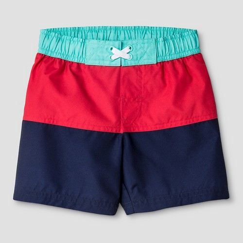 Boys' Colorblock Stripe Swim Trunk Cat & Jack - Red/ Navy 2T, Toddler Boy's