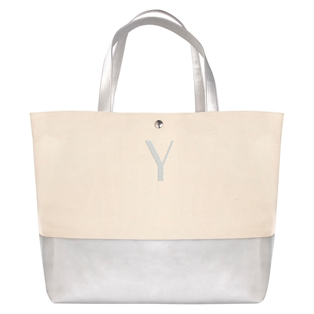 Womens Monogram Silver Metallic Color Dipped Tote Bag - Y, Size: Large, Silver - Y
