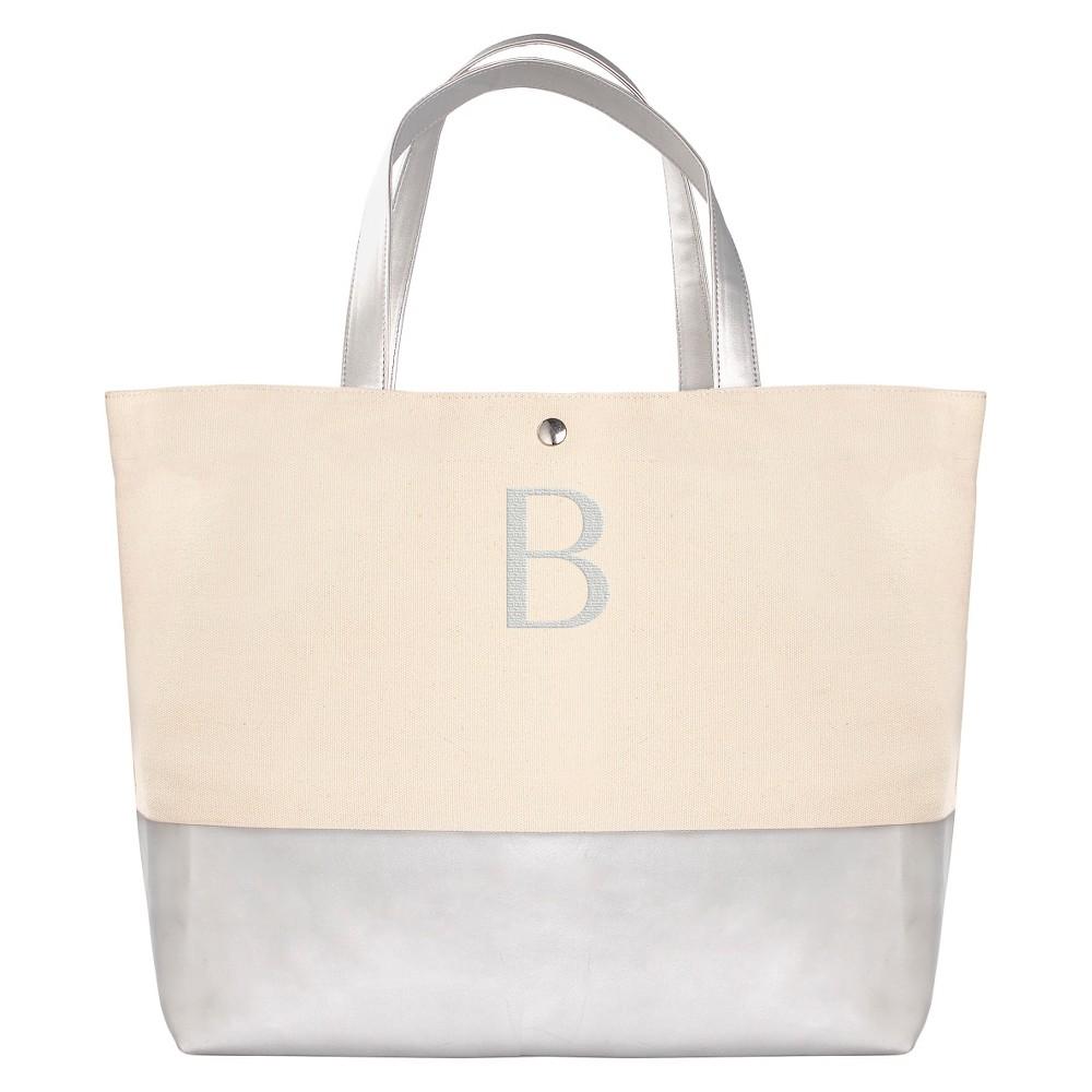 Womens Monogram Silver Metallic Color Dipped Tote Bag - B, Size: Large, Silver - B