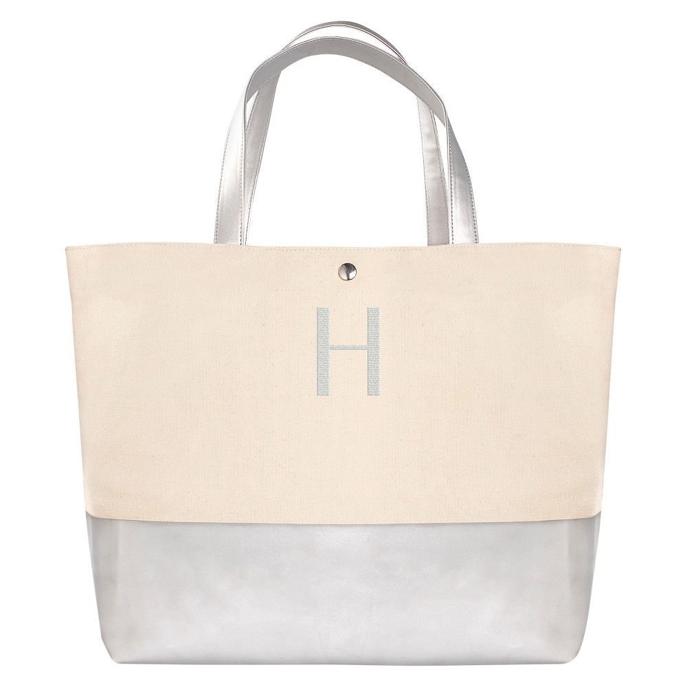 Womens Monogram Silver Metallic Color Dipped Tote Bag - H, Size: Large, Silver - H