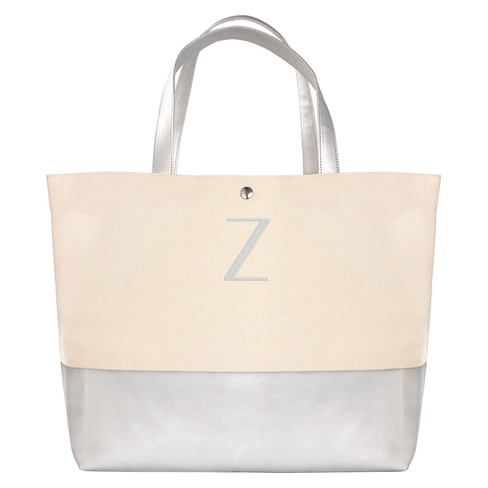 Womens Monogram Silver Metallic Color Dipped Tote Bag - Z, Size: Large, Silver - Z