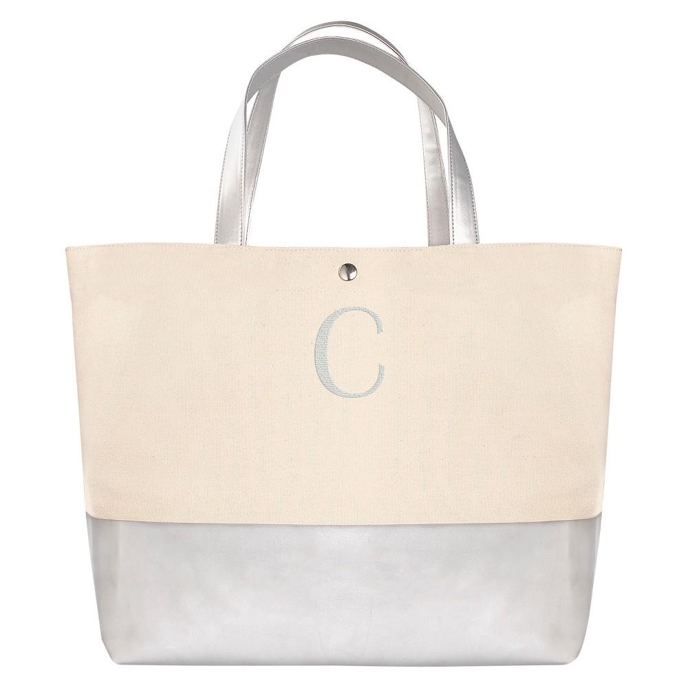 Womens Monogram Silver Metallic Color Dipped Tote Bag - C, Size: Large, Silver - C