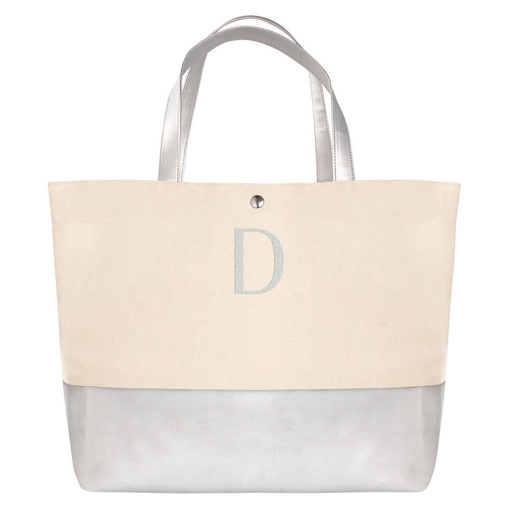 Womens Monogram Silver Metallic Color Dipped Tote Bag - D, Size: Large, Silver - D