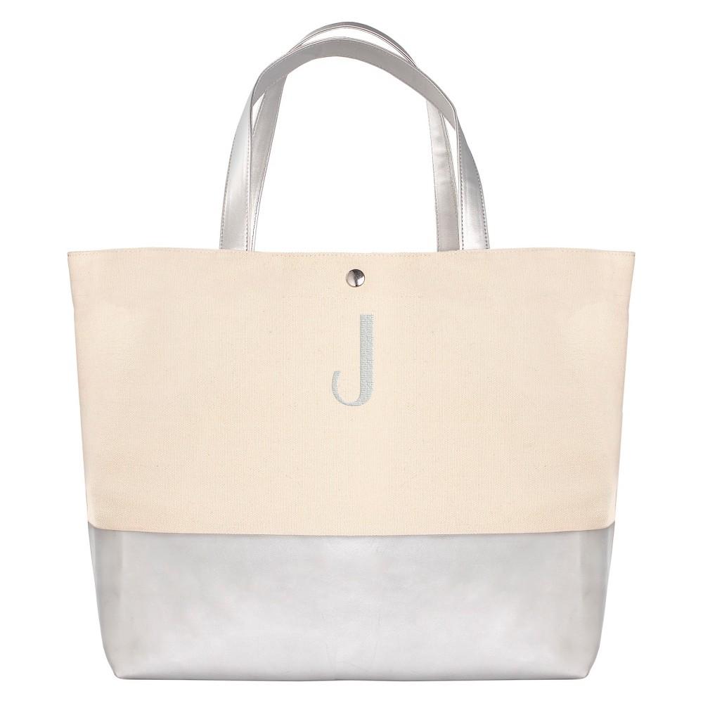 Womens Monogram Silver Metallic Color Dipped Tote Bag - J, Size: Large, Silver - J