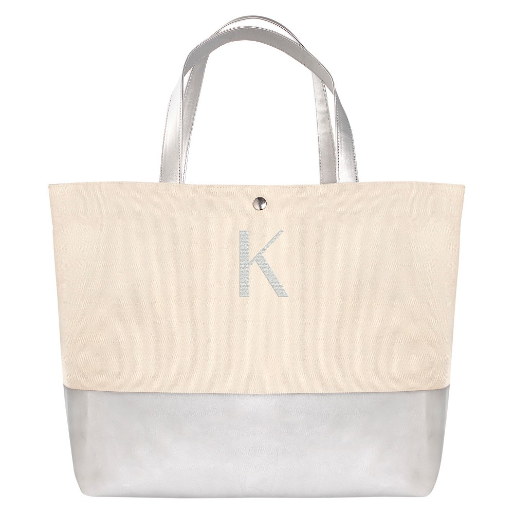 Womens Monogram Silver Metallic Color Dipped Tote Bag - K, Size: Large, Silver - K