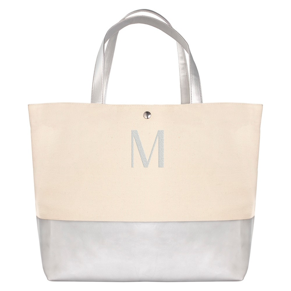 Womens Monogram Silver Metallic Color Dipped Tote Bag - M, Size: Medium, Silver - M
