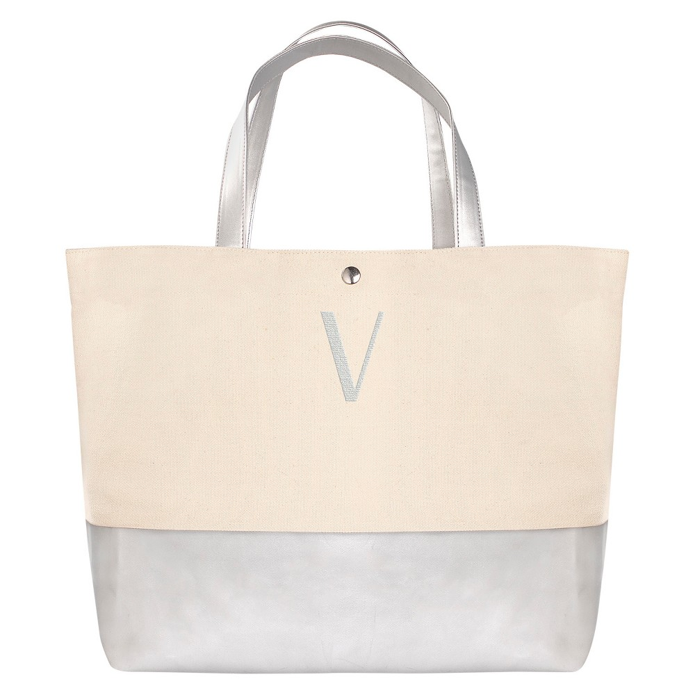 Womens Monogram Silver Metallic Color Dipped Tote Bag - V, Size: Large, Silver - V