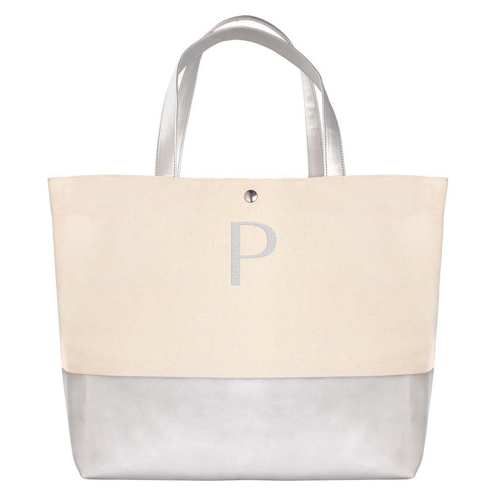 Womens Monogram Silver Metallic Color Dipped Tote Bag - P, Size: Large, Silver - P