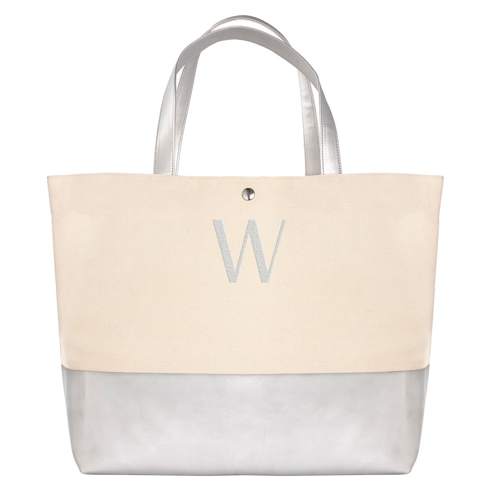 Womens Monogram Silver Metallic Color Dipped Tote Bag - W, Size: Large, Silver - W