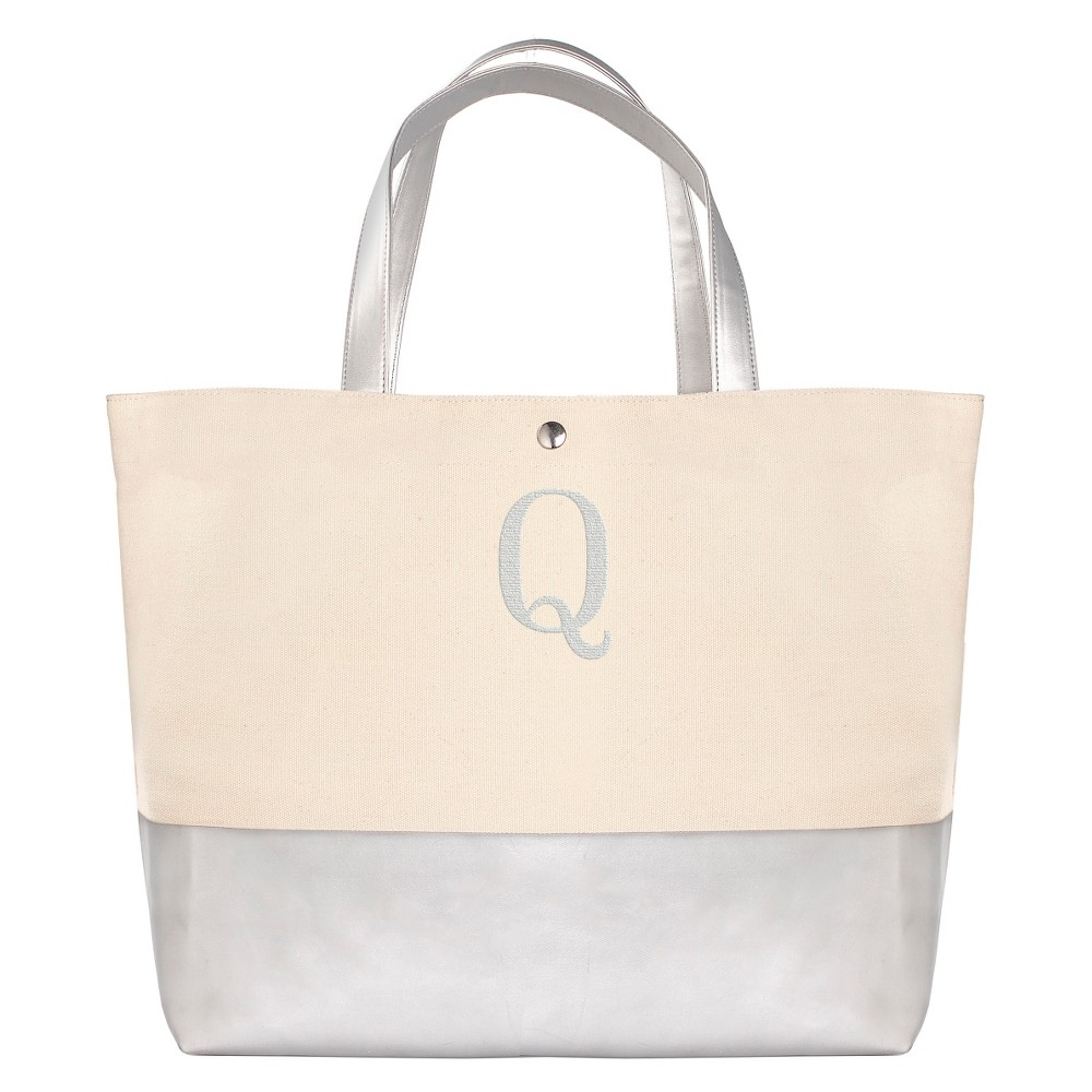 Womens Monogram Silver Metallic Color Dipped Tote Bag - Q, Size: Large, Silver - Q