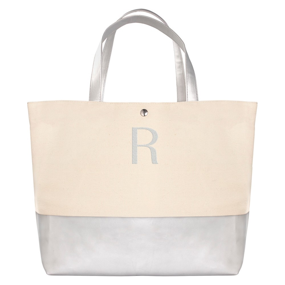 Womens Monogram Silver Metallic Color Dipped Tote Bag - R, Size: Large, Silver - R