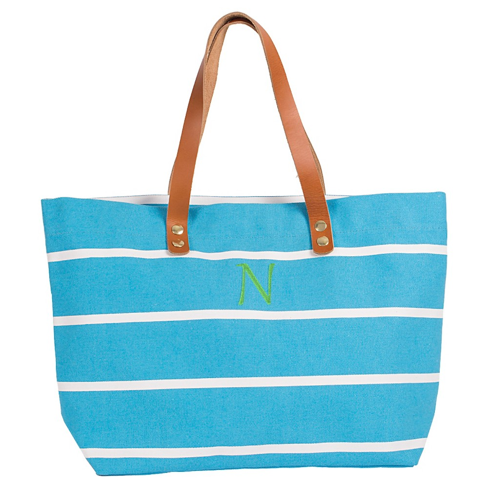 Womens Monogram Blue Striped Tote with Leather Handles - N, Size: Large, Blue - N