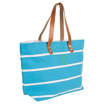 Women's Monogram Blue Striped Tote with Leather Handles - F, Size: Large, Blue - F