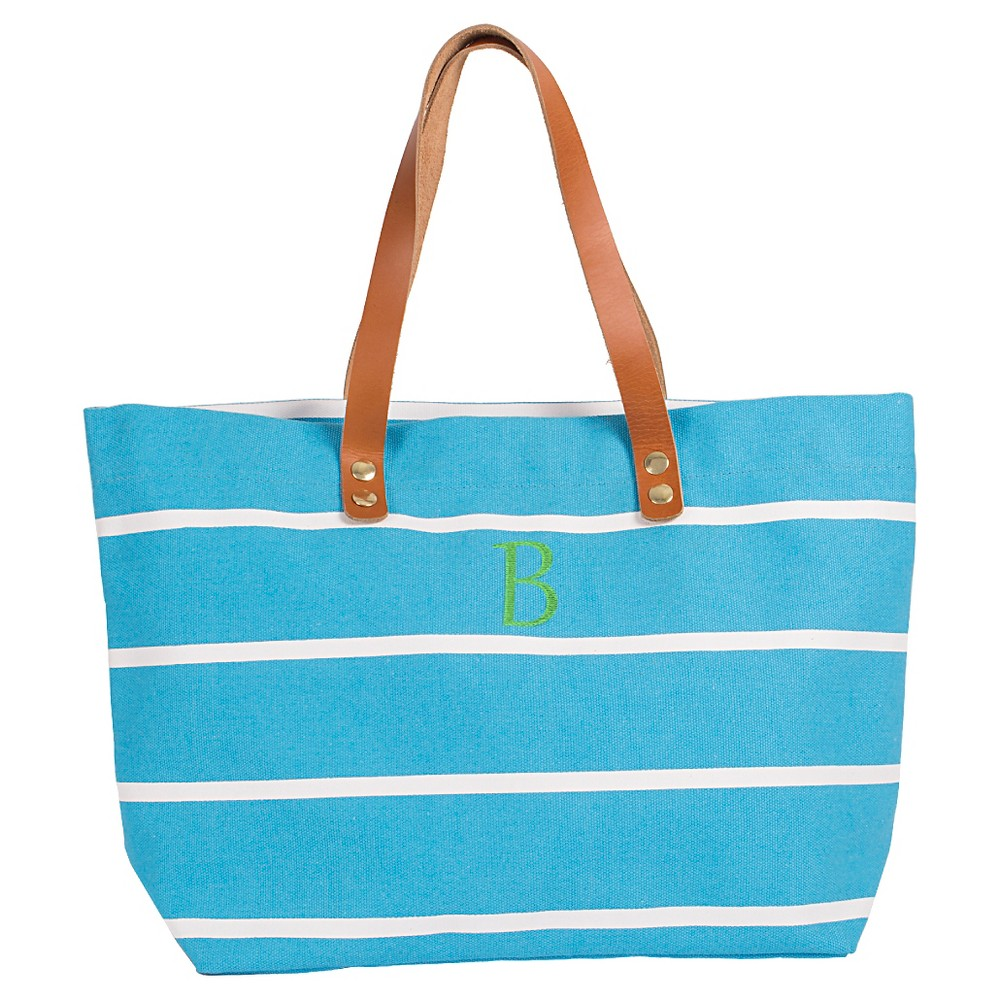 Womens Monogram Blue Striped Tote with Leather Handles - B, Size: Large, Blue - B