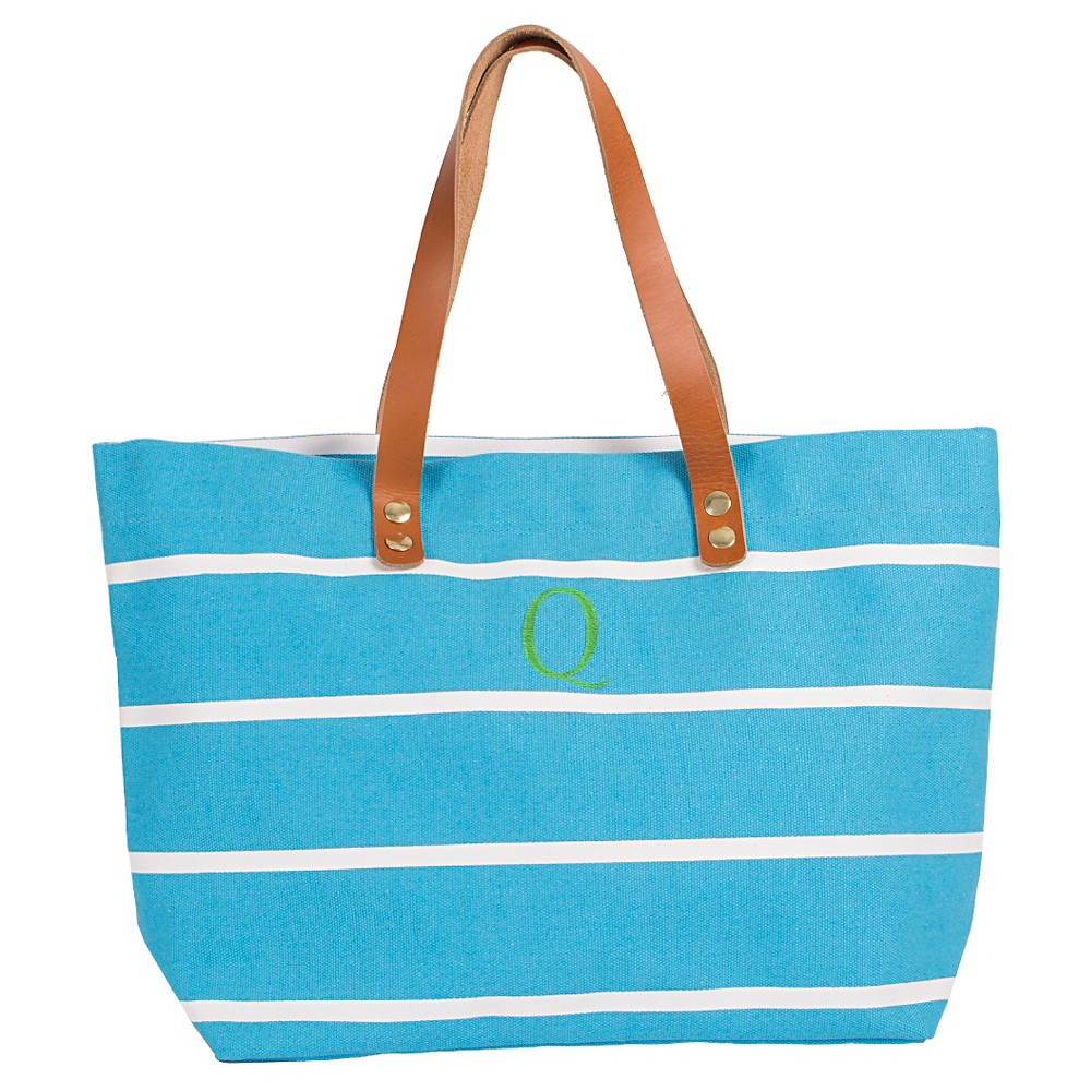 Womens Monogram Blue Striped Tote with Leather Handles - Q, Size: Large, Blue - Q