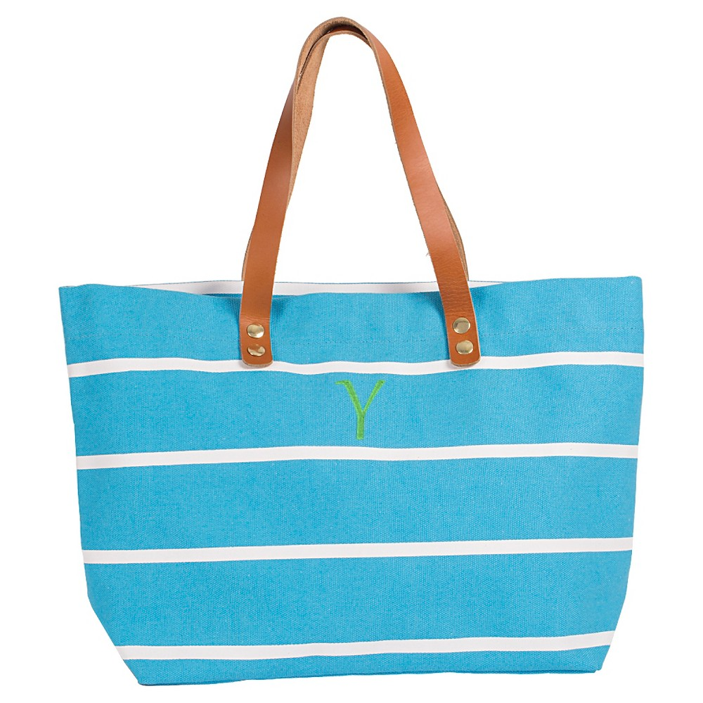 Womens Monogram Blue Striped Tote with Leather Handles - Y, Size: Large, Blue - Y