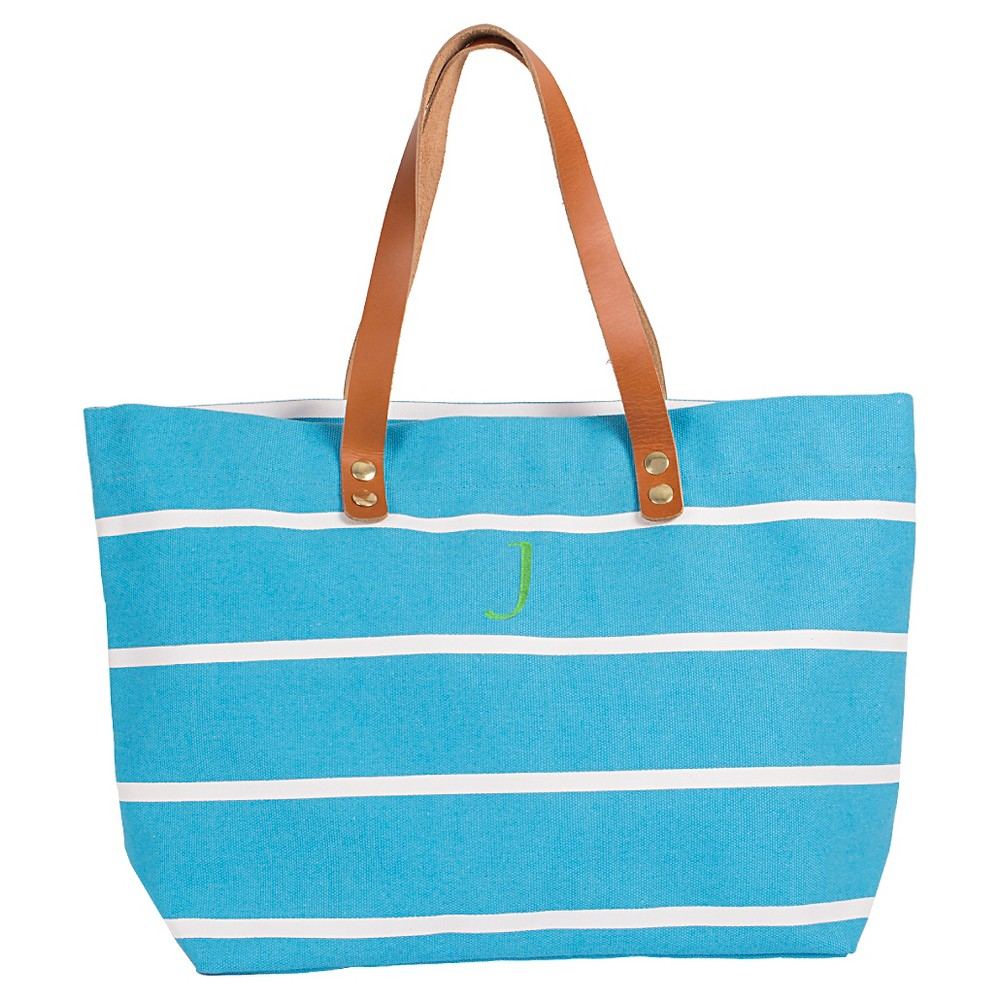 Womens Monogram Blue Striped Tote with Leather Handles - J, Size: Large, Blue - J