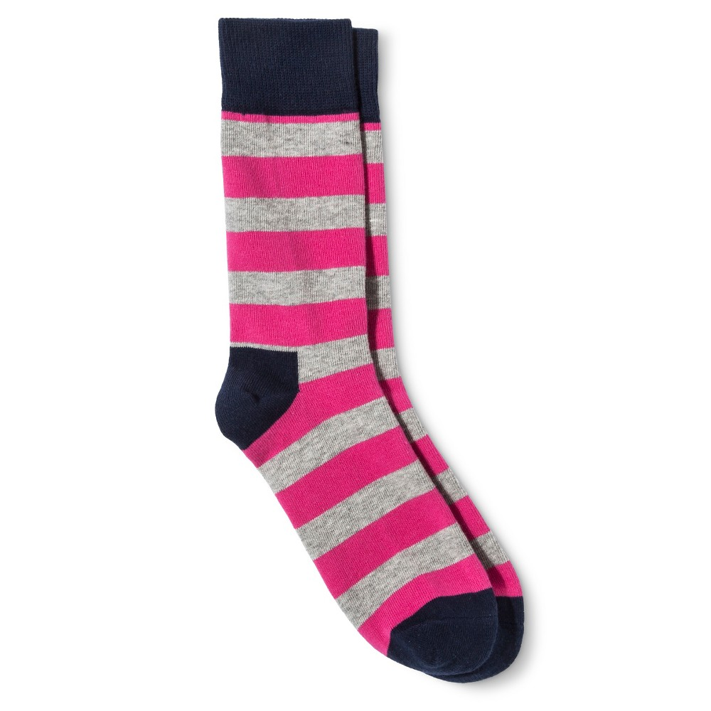 HS by Happy Socks Womens Striped Crew Sock - Pink & Gray 9-11, Pink Jelly Bean
