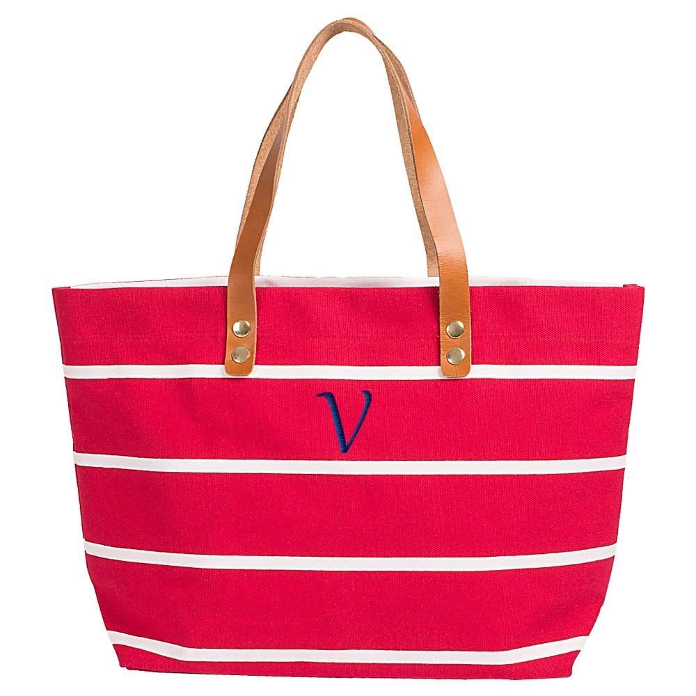 Womens Monogram Red Striped Tote with Leather Handles - V, Size: Large, Red - V