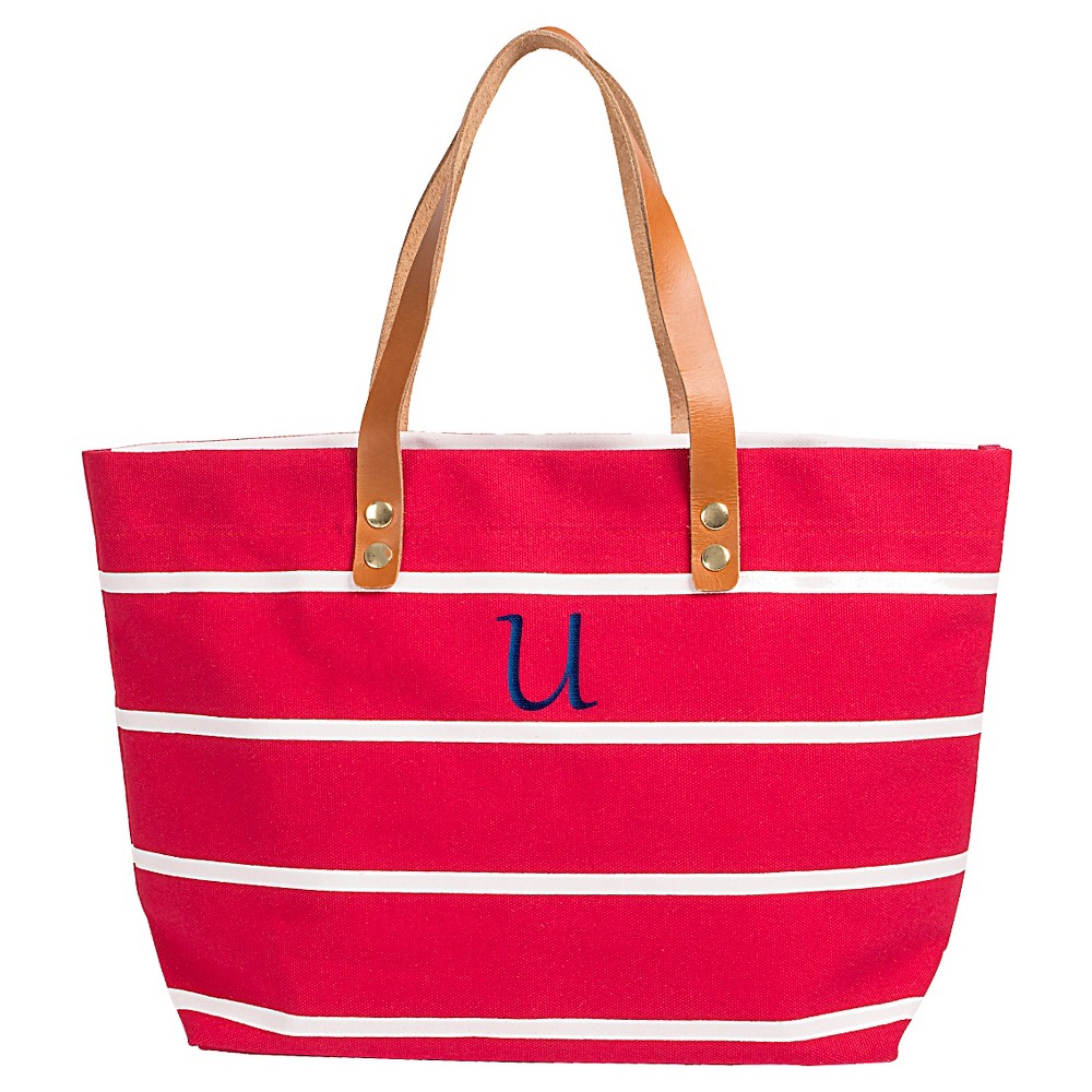 Womens Monogram Red Striped Tote with Leather Handles - U, Size: Large, Red - U