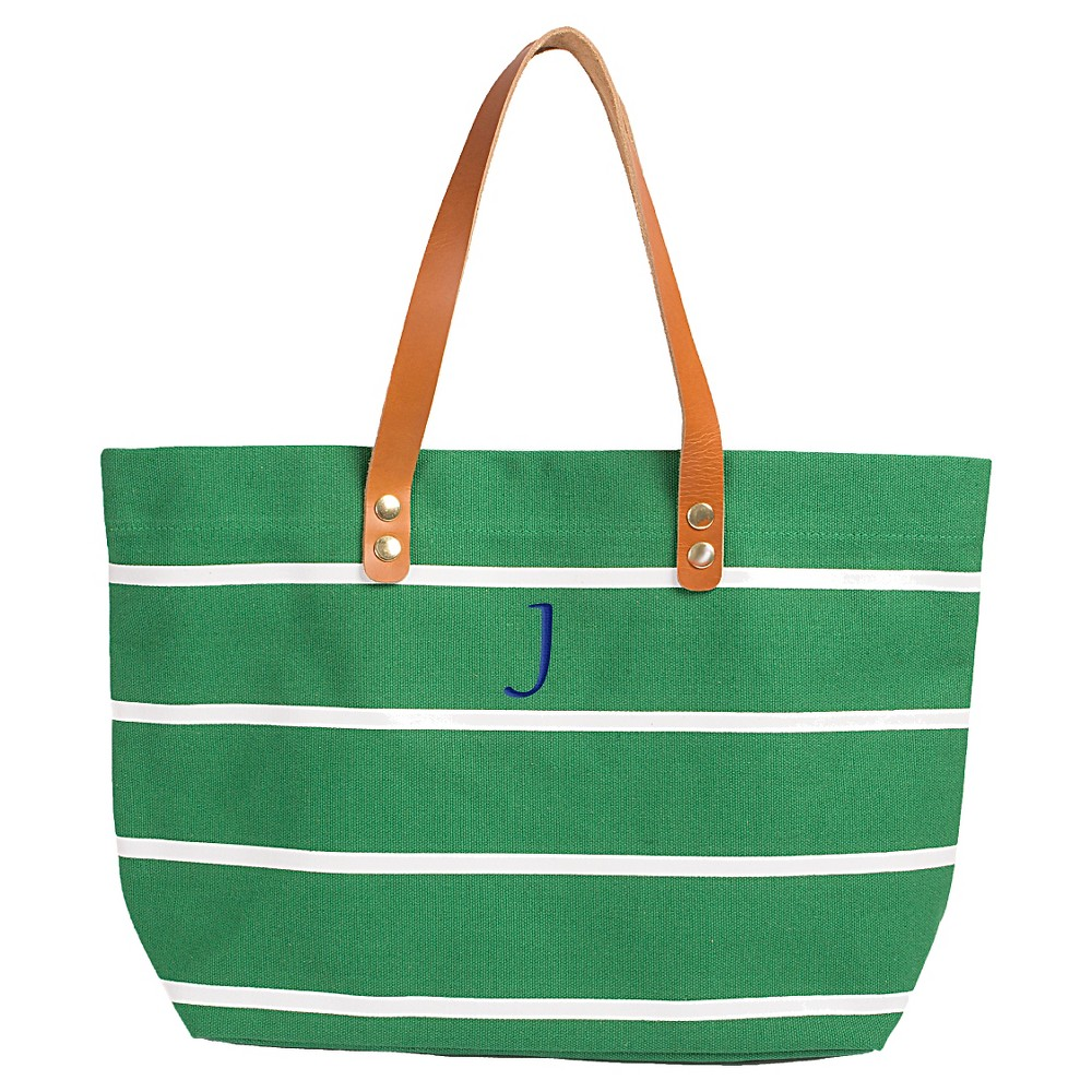 Womens Monogram Green Striped Tote with Leather Handles - J, Size: Large, Green - J
