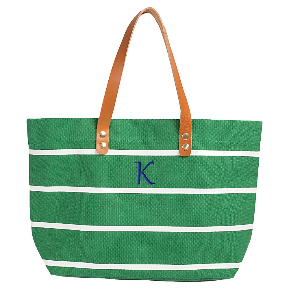 Womens Monogram Green Striped Tote with Leather Handles - K, Size: Large, Green - K