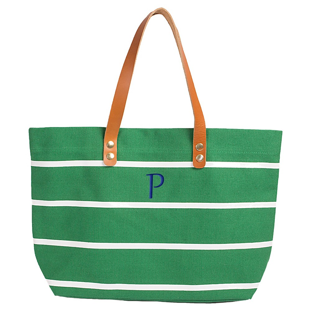 Womens Monogram Green Striped Tote with Leather Handles - P, Size: Large, Green - P