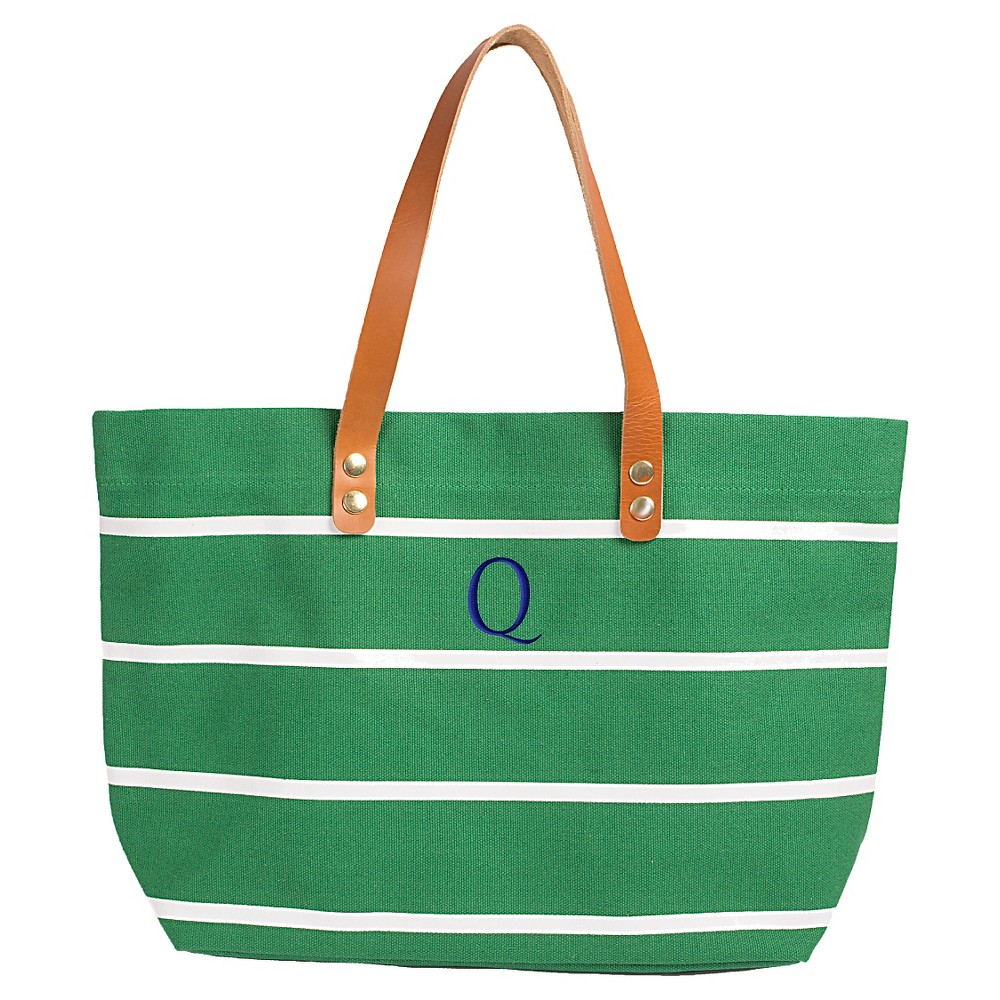 Womens Monogram Green Striped Tote with Leather Handles - Q, Size: Large, Green - Q