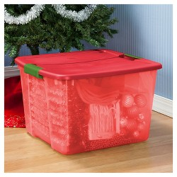Sterilite 66 Qt Storage Tote - Holiday Red