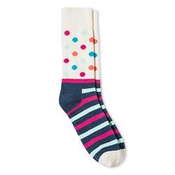 HS by Happy Socks Women's Dot/Stripe Mix Print Crew Sock - Cream & Blue 9-11