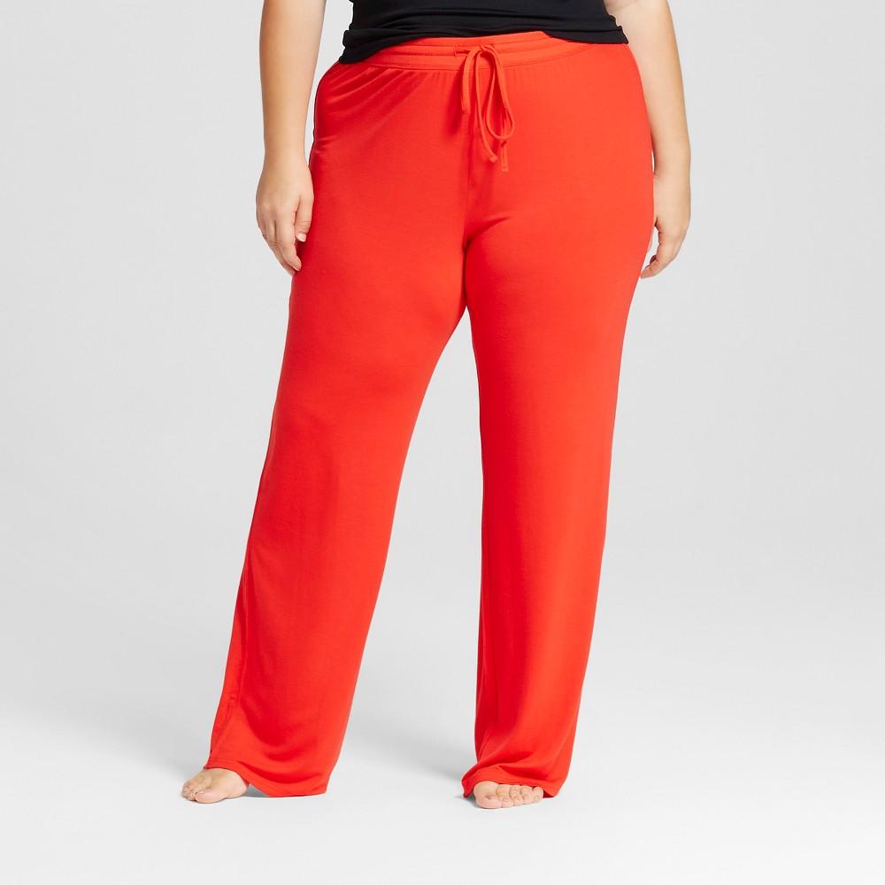 Womens Plus Size Fluid Knit Pants - Red 1X, Orange