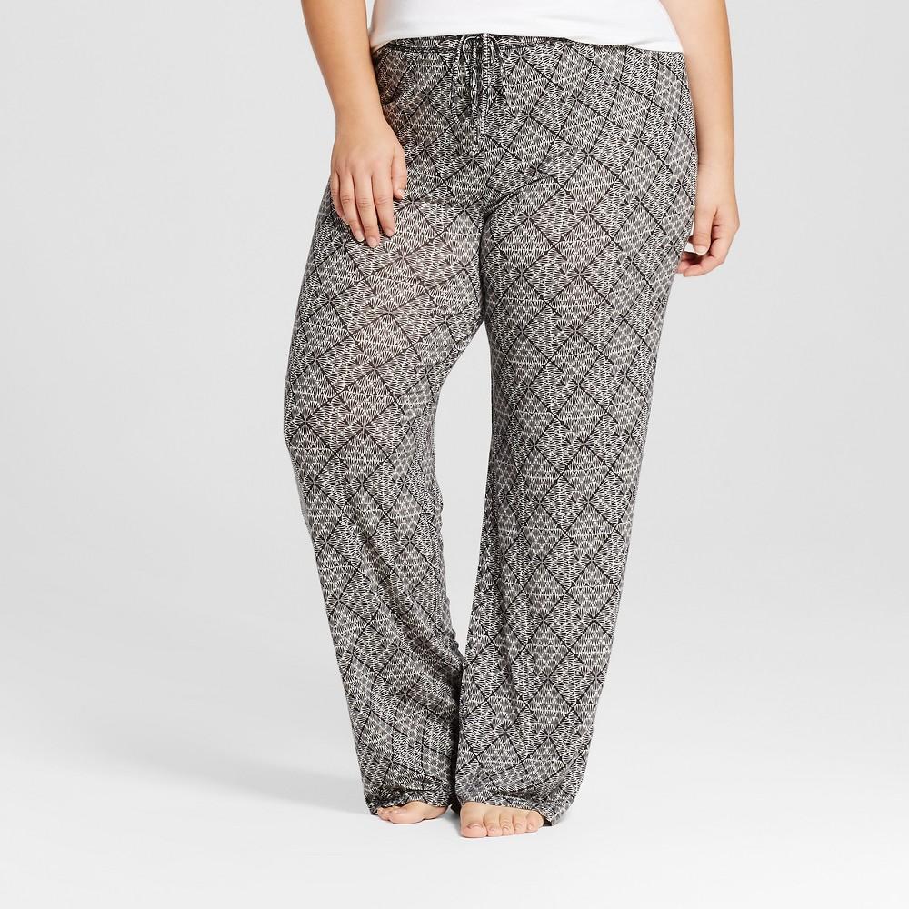 Womens Plus Size Fluid Knit Pants - Black Tile 3X