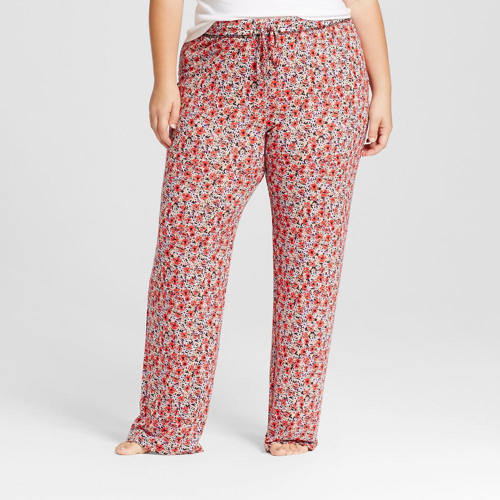 Womens Plus Size Fluid Knit Pants - Red Floral 3X