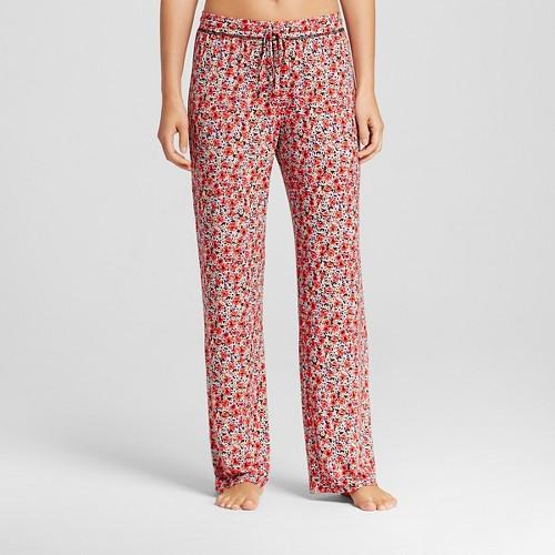 Women's Fluid Knit Pants - Red Floral S