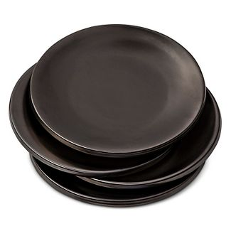 Stoneware Glazed Plates 4 Ct Black Modern By Dwell Magazine