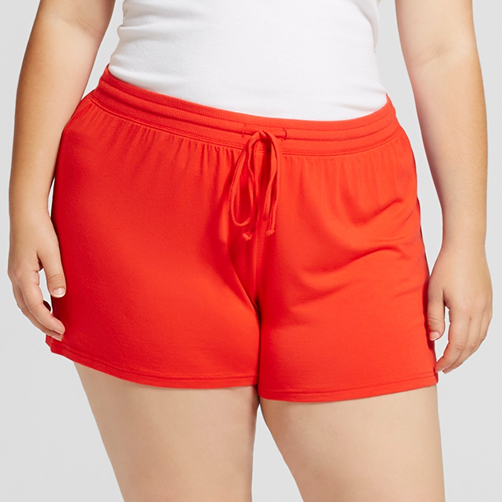 Womens Plus Size Fluid Knit Shorts - Company Red 1X, Orange